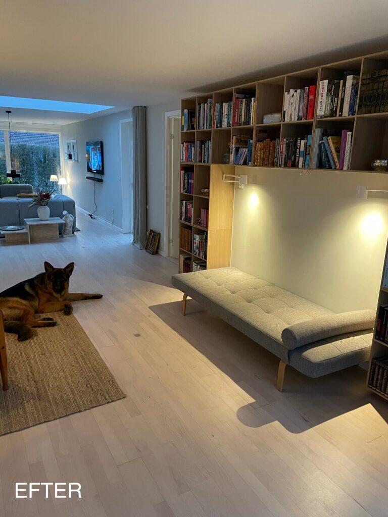 12 meter lang og smal stue
